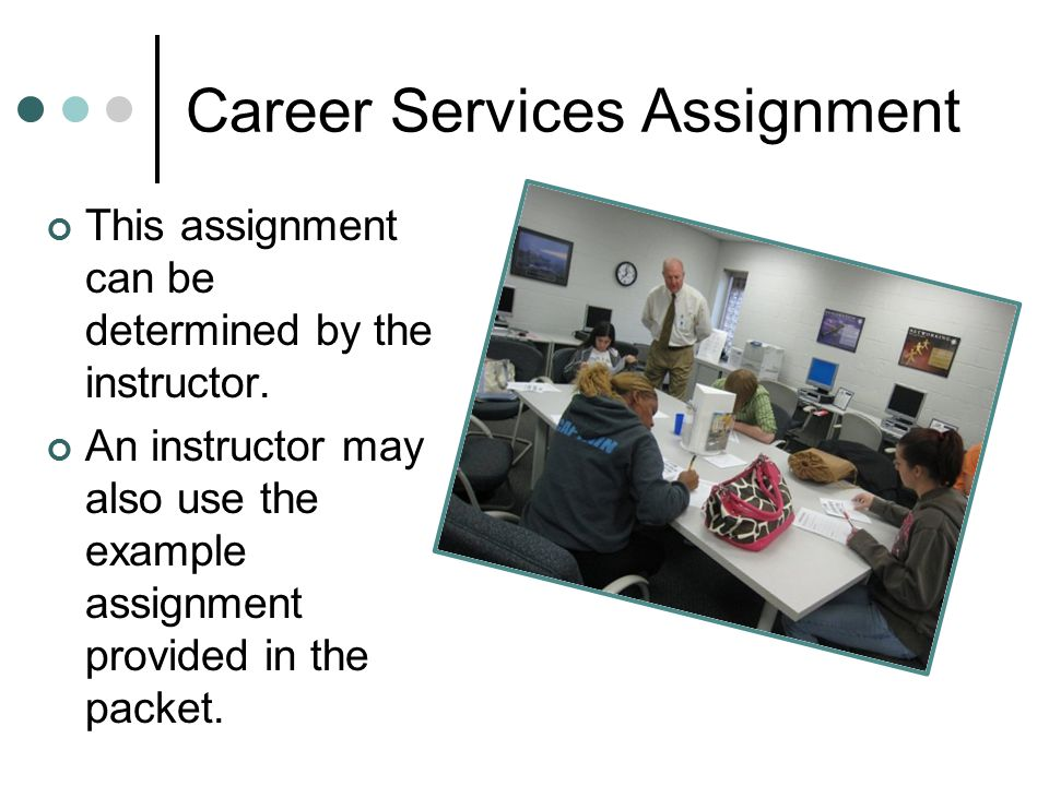 Career Services Assignment This assignment can be determined by the instructor.