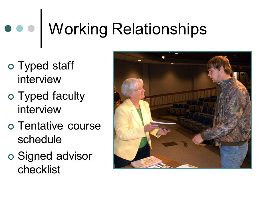 Working Relationships Typed staff interview Typed faculty interview Tentative course schedule Signed advisor checklist