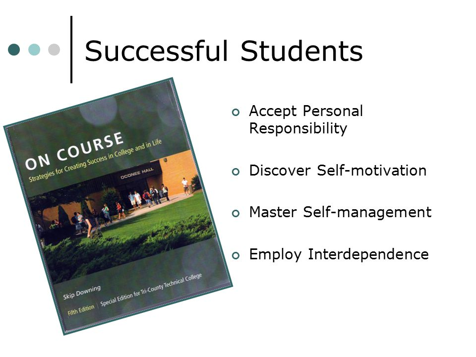 Successful Students Accept Personal Responsibility Discover Self-motivation Master Self-management Employ Interdependence Photo courtesy of Houghton M