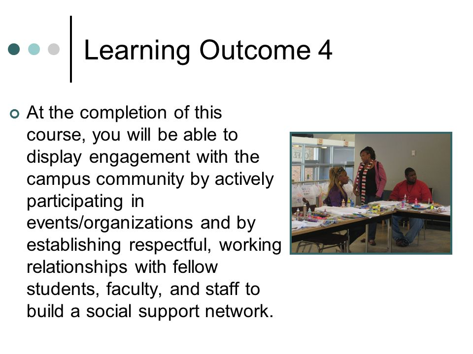 Learning Outcome 4 At the completion of this course, you will be able to display engagement with the campus community by actively participating in events/organizations and by establishing respectful, working relationships with fellow students, faculty, and staff to build a social support network.