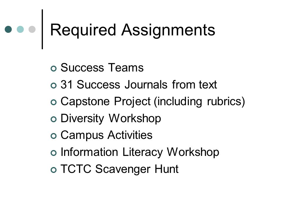 Required Assignments Success Teams 31 Success Journals from text Capstone Project (including rubrics) Diversity Workshop Campus Activities Information