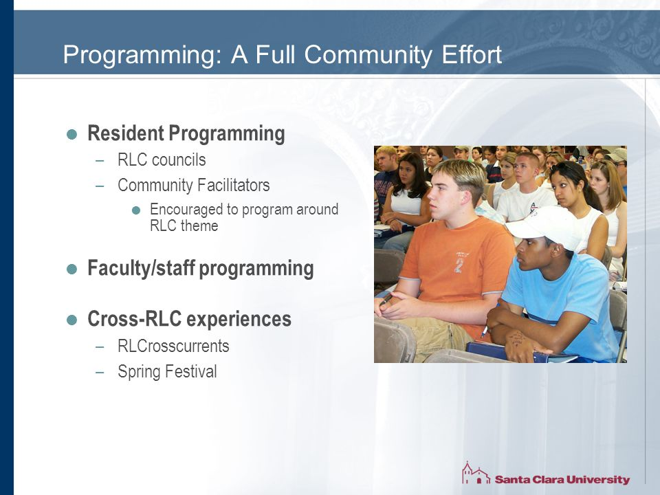 Programming: A Full Community Effort  Resident Programming –RLC councils –Community Facilitators  Encouraged to program around RLC theme  Faculty/staff programming  Cross-RLC experiences –RLCrosscurrents –Spring Festival