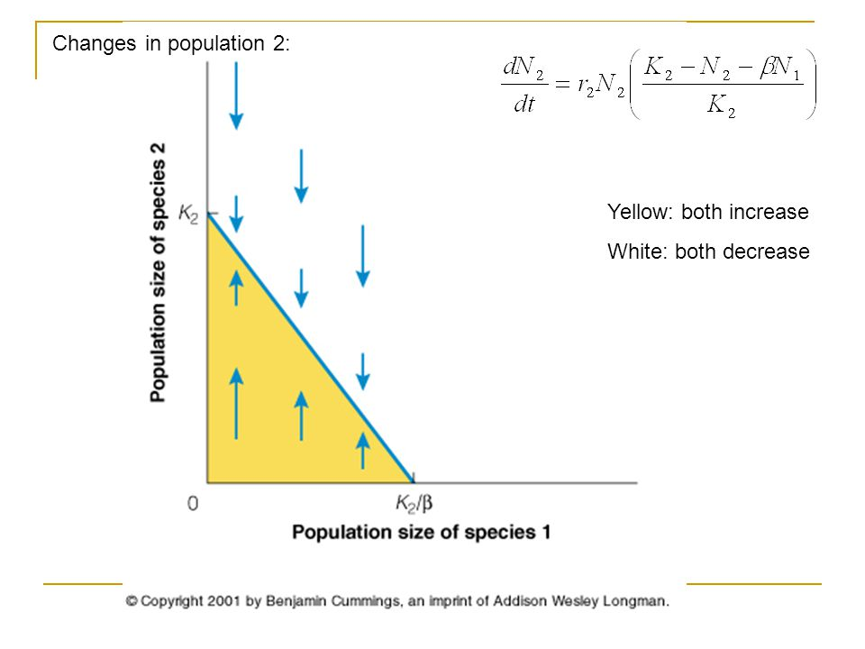 Changes in population 2: Yellow: both increase White: both decrease