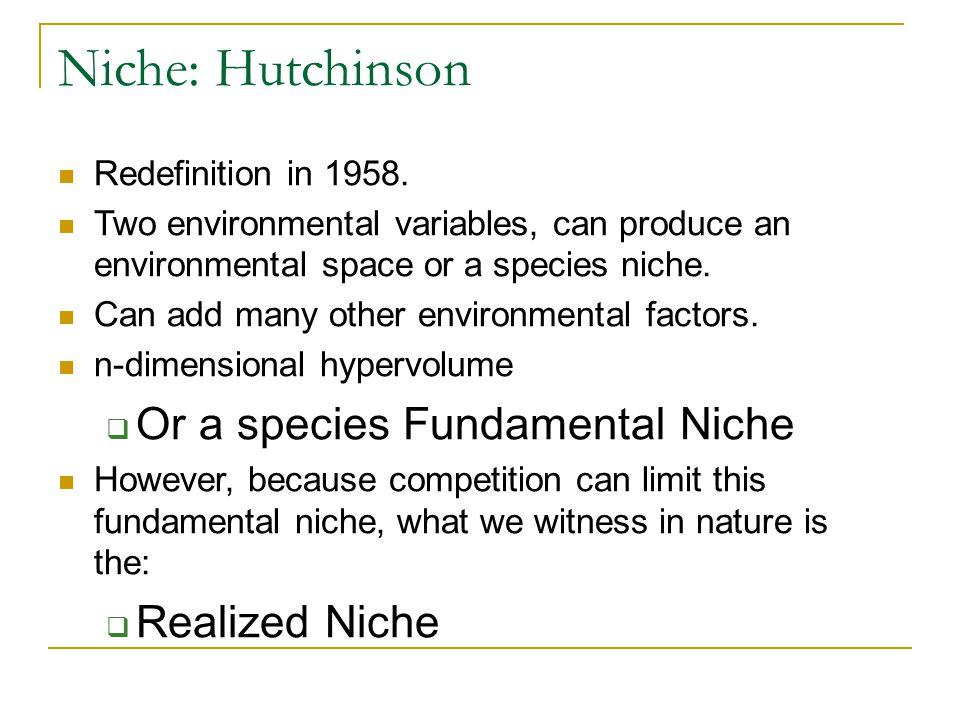 Niche: Hutchinson Redefinition in 1958.