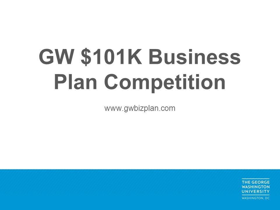 GW $101K Business Plan Competition www.gwbizplan.com