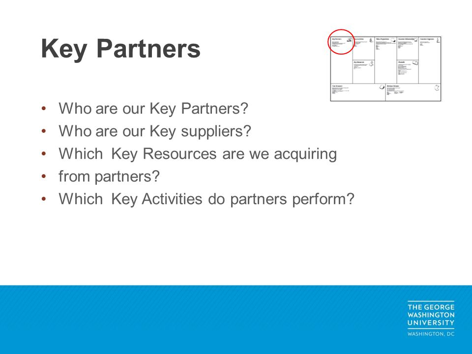 Who are our Key Partners? Who are our Key suppliers? Which Key Resources are we acquiring from partners? Which Key Activities do partners perform? Key