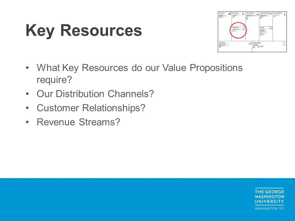 What Key Resources do our Value Propositions require? Our Distribution Channels? Customer Relationships? Revenue Streams? Key Resources