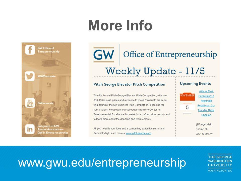 More Info www.gwu.edu/entrepreneurship