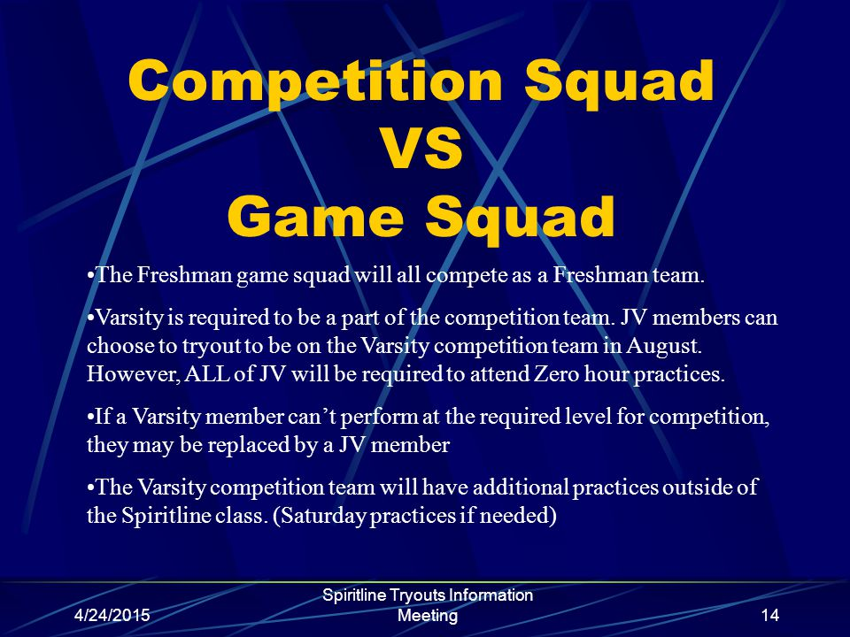 4/24/2015 Spiritline Tryouts Information Meeting14 Competition Squad VS Game Squad The Freshman game squad will all compete as a Freshman team.