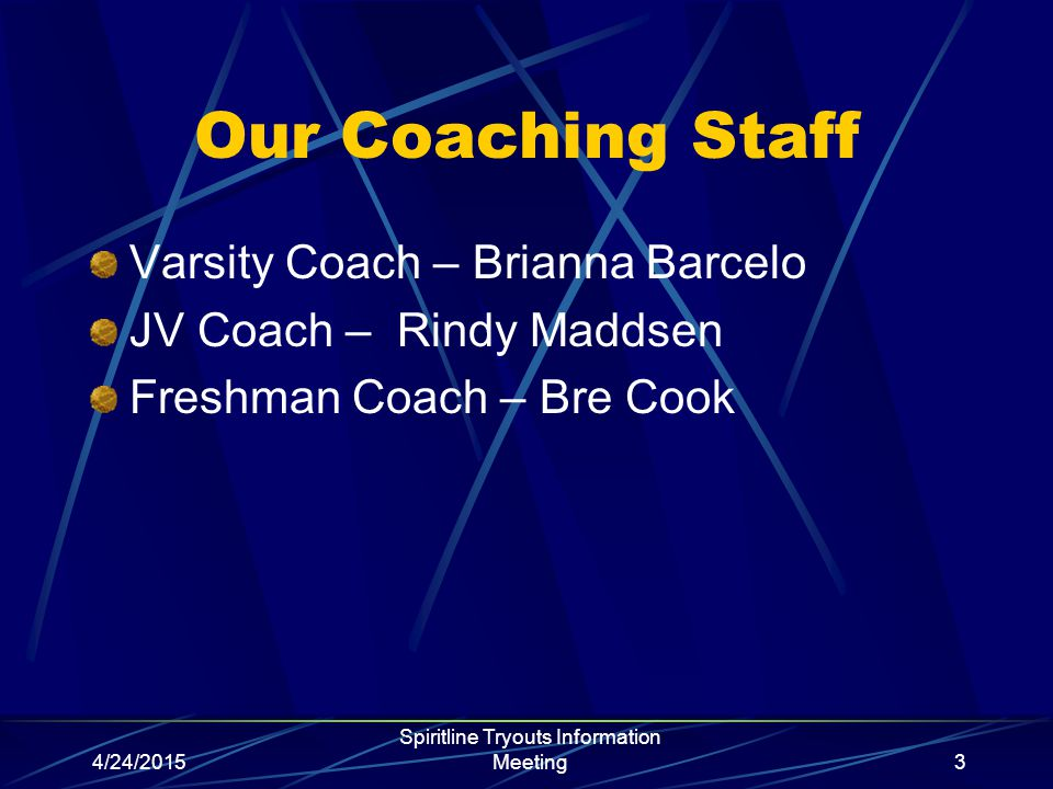 4/24/2015 Spiritline Tryouts Information Meeting3 Our Coaching Staff Varsity Coach – Brianna Barcelo JV Coach – Rindy Maddsen Freshman Coach – Bre Cook