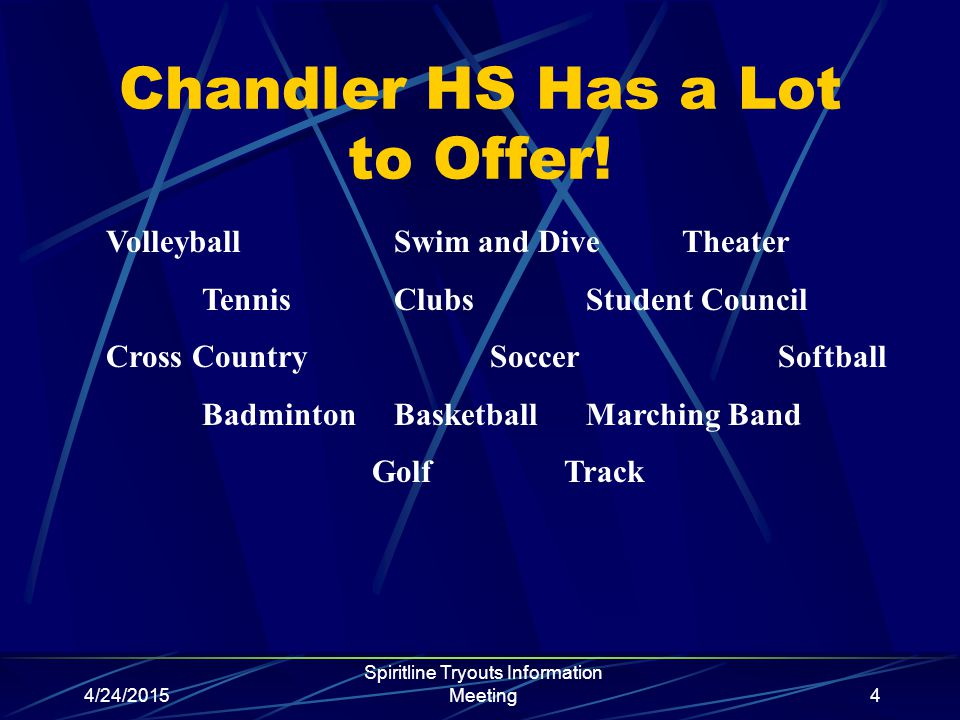 4/24/2015 Spiritline Tryouts Information Meeting4 Chandler HS Has a Lot to Offer.