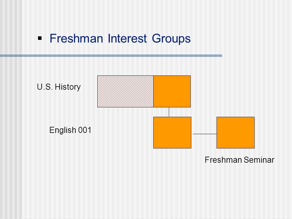  Freshman Interest Groups U.S. History U.S. History Freshman Seminar Freshman Seminar English 001