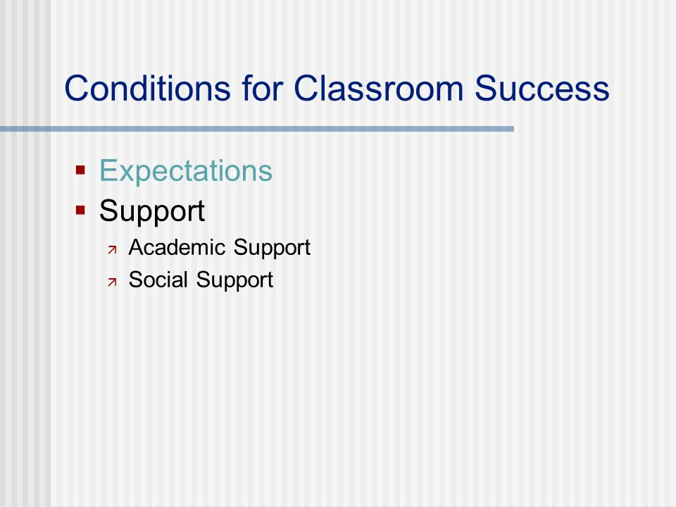 Conditions for Classroom Success  Expectations  Support  Academic Support  Social Support