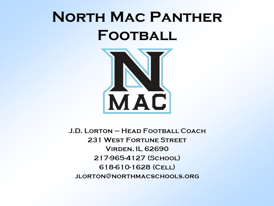 North Mac Panther Football J.D.