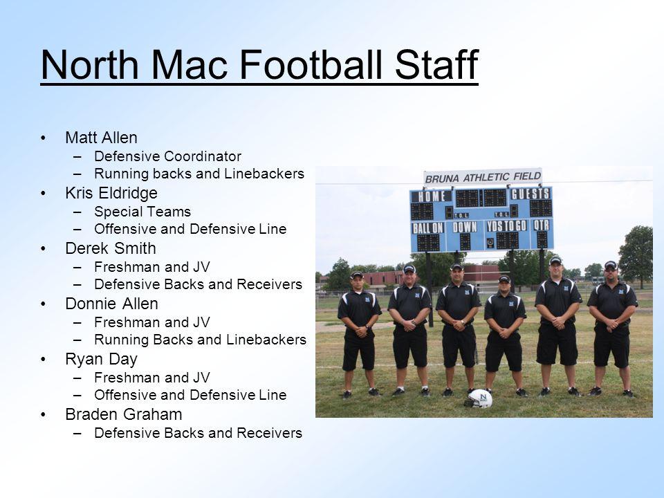 North Mac Football Staff Matt Allen –Defensive Coordinator –Running backs and Linebackers Kris Eldridge –Special Teams –Offensive and Defensive Line D