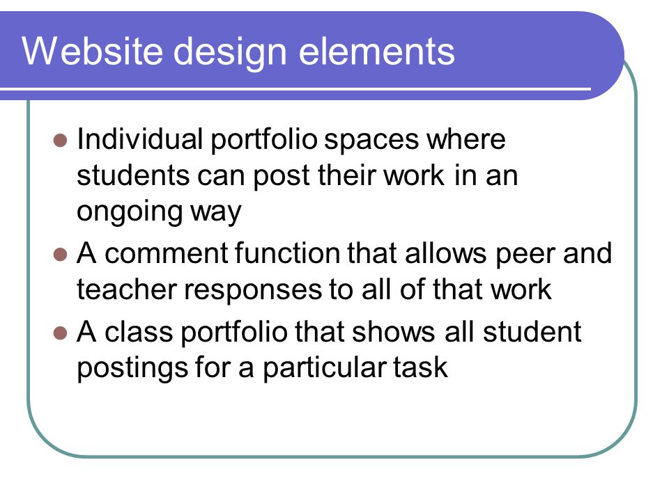 Website design elements Individual portfolio spaces where students can post their work in an ongoing way A comment function that allows peer and teacher responses to all of that work A class portfolio that shows all student postings for a particular task