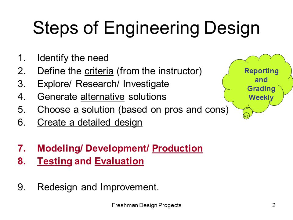 Freshman Design Progects2 Steps of Engineering Design 1.Identify the need 2.Define the criteria (from the instructor) 3.Explore/ Research/ Investigate 4.Generate alternative solutions 5.Choose a solution (based on pros and cons) 6.Create a detailed design 7.Modeling/ Development/ Production 8.Testing and Evaluation 9.Redesign and Improvement.