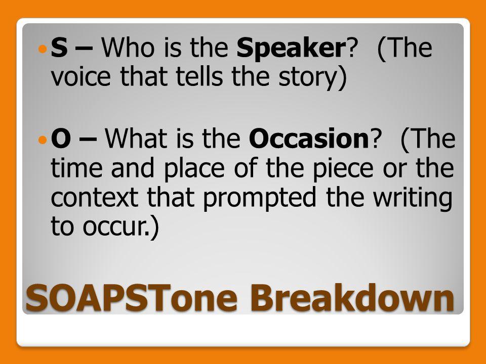 SOAPSTone Breakdown S – Who is the Speaker.