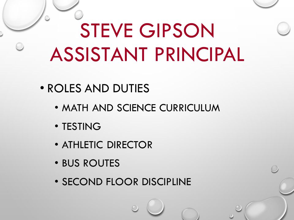 STEVE GIPSON ASSISTANT PRINCIPAL ROLES AND DUTIES MATH AND SCIENCE CURRICULUM TESTING ATHLETIC DIRECTOR BUS ROUTES SECOND FLOOR DISCIPLINE