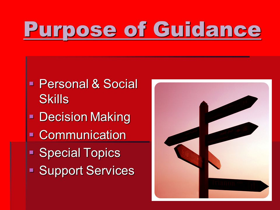 Purpose of Guidance  Personal & Social Skills  Decision Making  Communication  Special Topics  Support Services