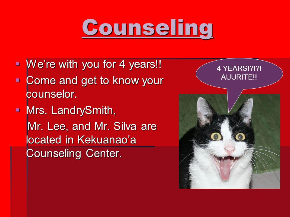 Counseling  We're with you for 4 years!.  Come and get to know your counselor.