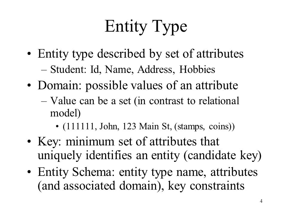 5 Representation in Relational Model Entity type corresponds to a relation Relation's attributes = entity type's attributes –Problem: entity type can have set valued attributes.