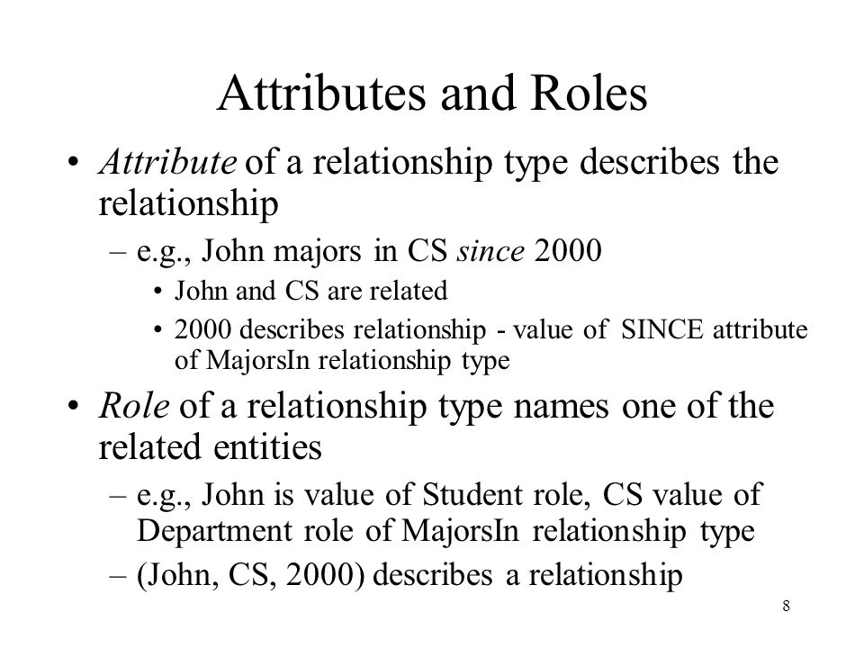 19 Key Constraint (special case) If, for a particular participant entity type, each entity participates in at most one relationship, corresponding role is a key of relationship type –E.g., Professor role is unique in WorksIn Representation in E-R diagram: arrow WorksInProfessorDepartment