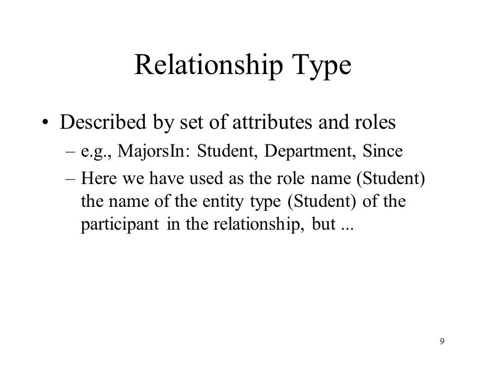30 Participation Constraint If every entity participates in at least one relationship, a participation constraint holds: –A participation constraint of entity type E having role  in relationship type R states that for e in E there is an r in R such that  (r) = e.