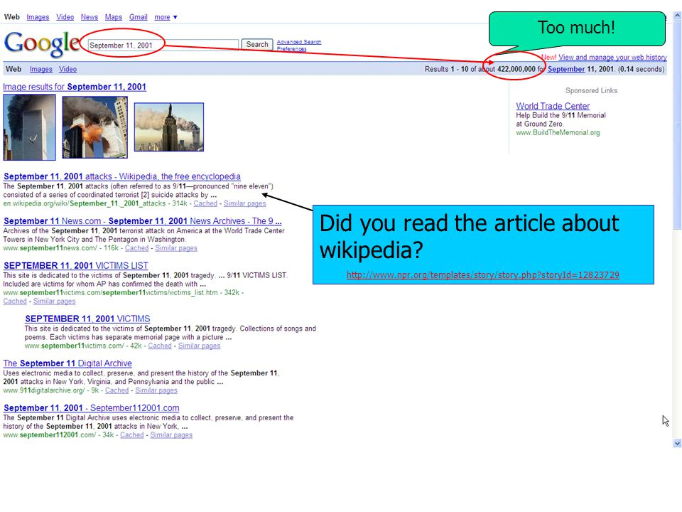 Too much! Did you read the article about wikipedia? http://www.npr.org/templates/story/story.php?storyId=12823729