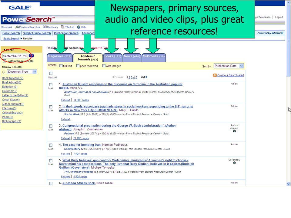 Newspapers, primary sources, audio and video clips, plus great reference resources!