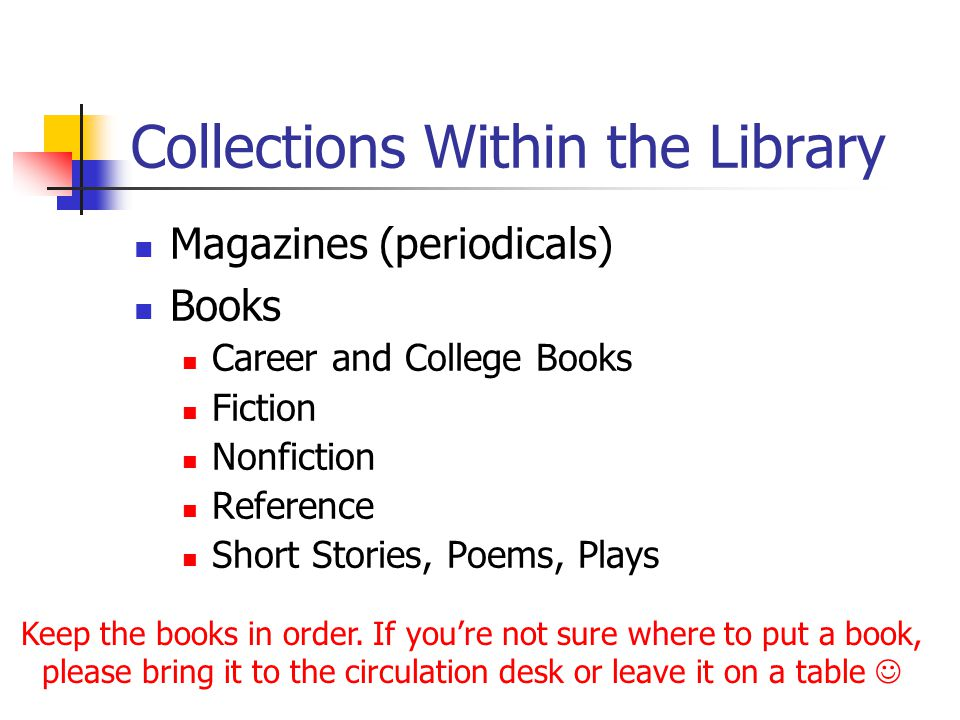 Collections Within the Library Magazines (periodicals) Books Career and College Books Fiction Nonfiction Reference Short Stories, Poems, Plays Keep th