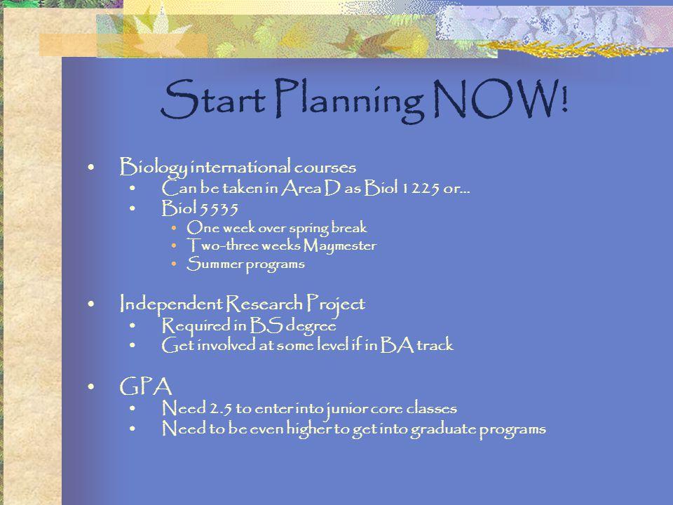 Start Planning NOW.