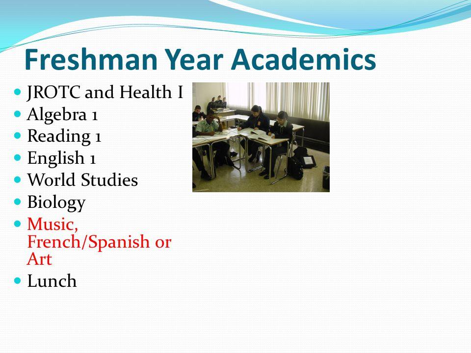 Freshman Year Academics JROTC and Health I Algebra 1 Reading 1 English 1 World Studies Biology Music, French/Spanish or Art Lunch