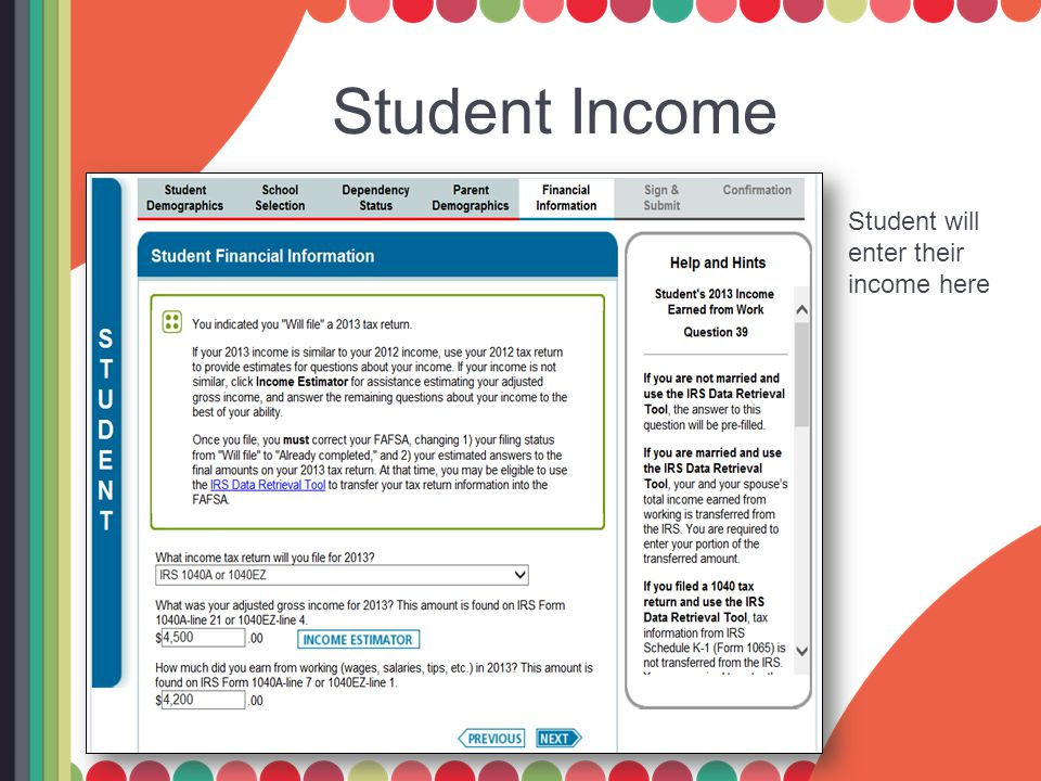 Student Income Student will enter their income here