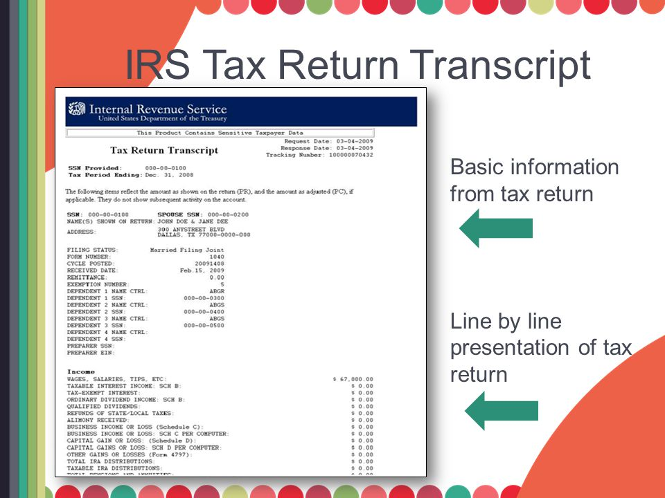 IRS Tax Return Transcript Basic information from tax return Line by line presentation of tax return