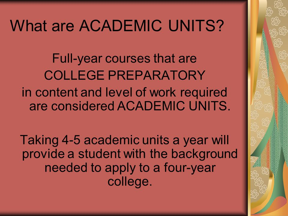What are ACADEMIC UNITS.