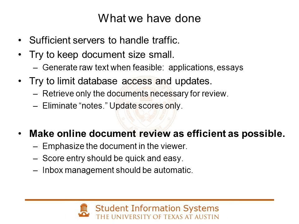 Student Information Systems Sufficient servers to handle traffic.