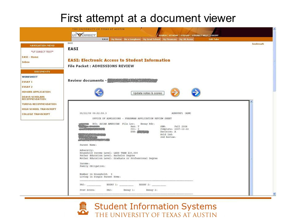 Student Information Systems First attempt at a document viewer