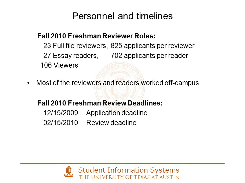 Student Information Systems Printing files Mailing files to reviewers Reviewing paper files Mailing files to Admission Office Entering review scores What were we doing?