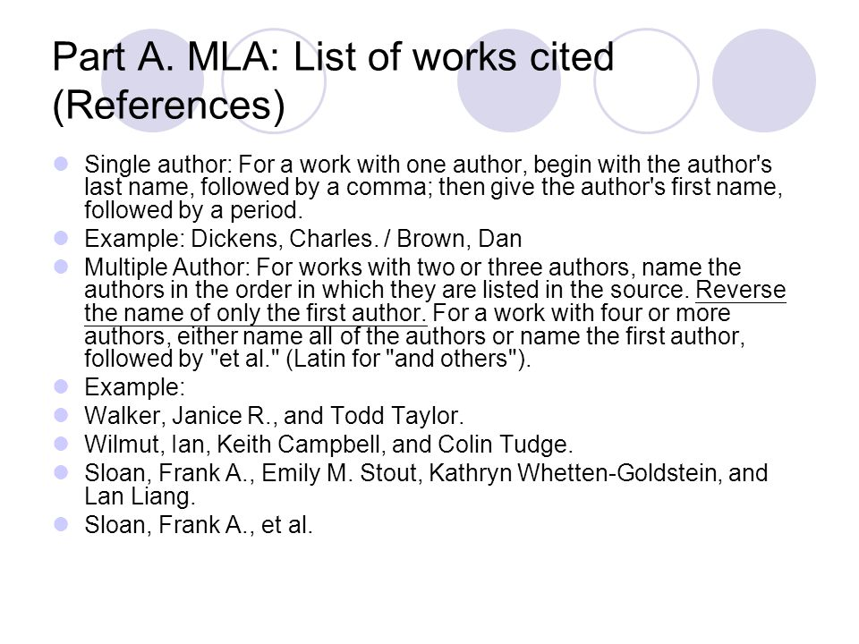 Part A. MLA: List of works cited (References) Single author: For a work with one author, begin with the author's last name, followed by a comma; then