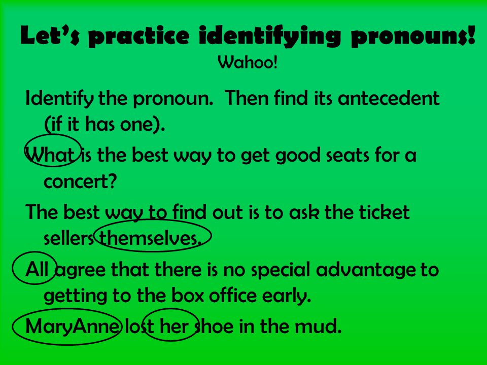 Let's practice identifying pronouns. Wahoo. Identify the pronoun.