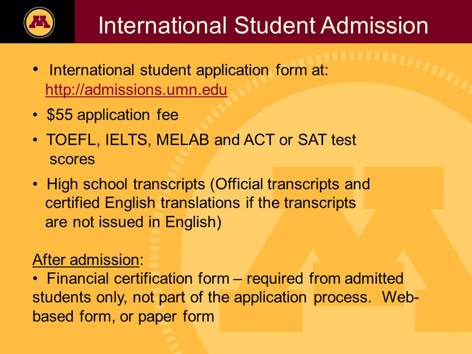 Twin Cities Campus Freshman Applicants, 2002- 2006 International Student Admission International student application form at: http://admissions.umn.edu $55 application fee TOEFL, IELTS, MELAB and ACT or SAT test scores High school transcripts (Official transcripts and certified English translations if the transcripts are not issued in English) After admission: Financial certification form – required from admitted students only, not part of the application process.