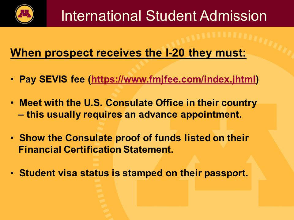 Twin Cities Campus Freshman Applicants, 2002- 2006 International Student Admission When prospect receives the I-20 they must: Pay SEVIS fee (https://www.fmjfee.com/index.jhtml)https://www.fmjfee.com/index.jhtml Meet with the U.S.
