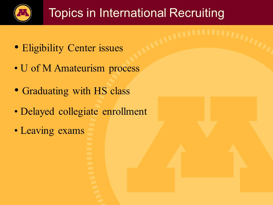 Twin Cities Campus Freshman Applicants, 2002- 2006 Topics in International Recruiting Eligibility Center issues U of M Amateurism process Graduating with HS class Delayed collegiate enrollment Leaving exams
