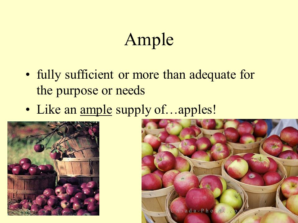 Ample fully sufficient or more than adequate for the purpose or needs Like an ample supply of…apples!