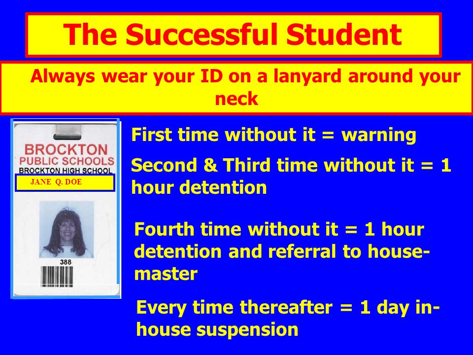The Successful Student Always wear your ID on a lanyard around your neck First time without it = warning Second & Third time without it = 1 hour deten
