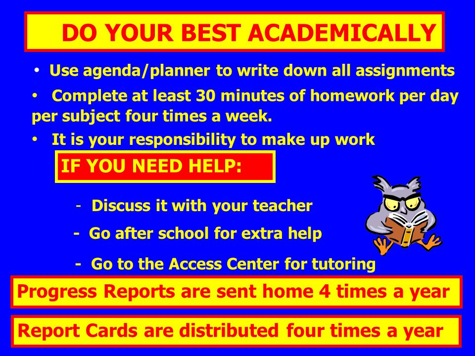 DO YOUR BEST ACADEMICALLY Use agenda/planner to write down all assignments Complete at least 30 minutes of homework per day per subject four times a week.