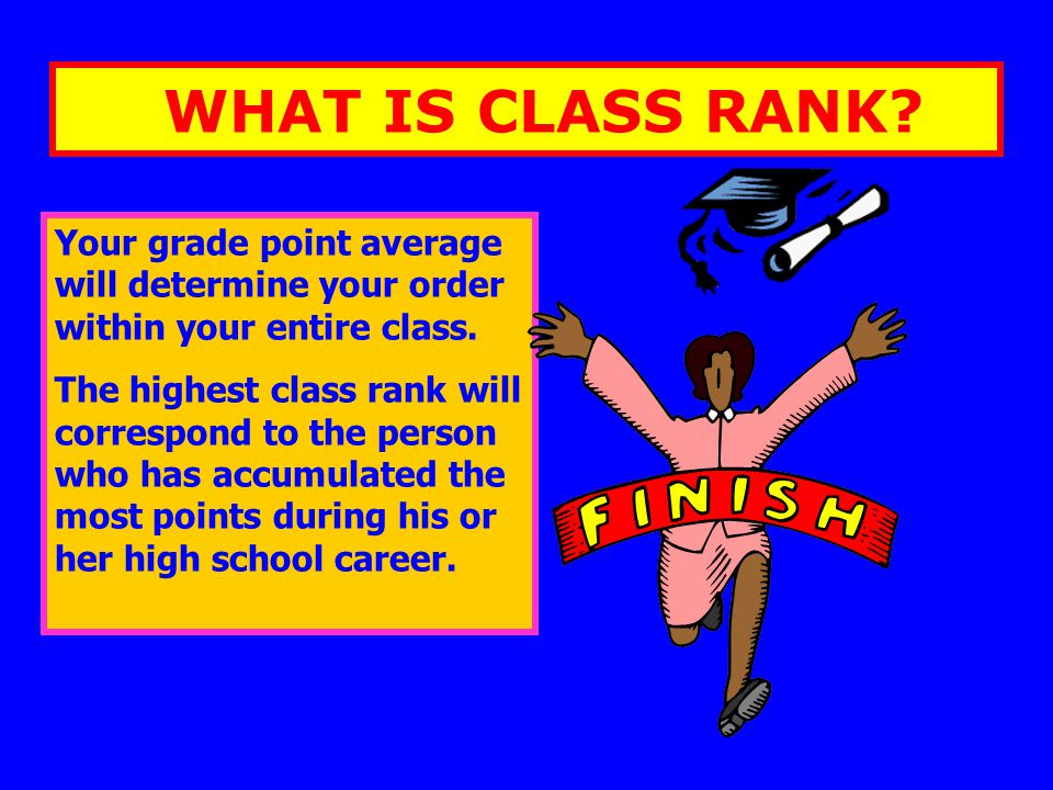 WHAT IS CLASS RANK? Your grade point average will determine your order within your entire class. The highest class rank will correspond to the person