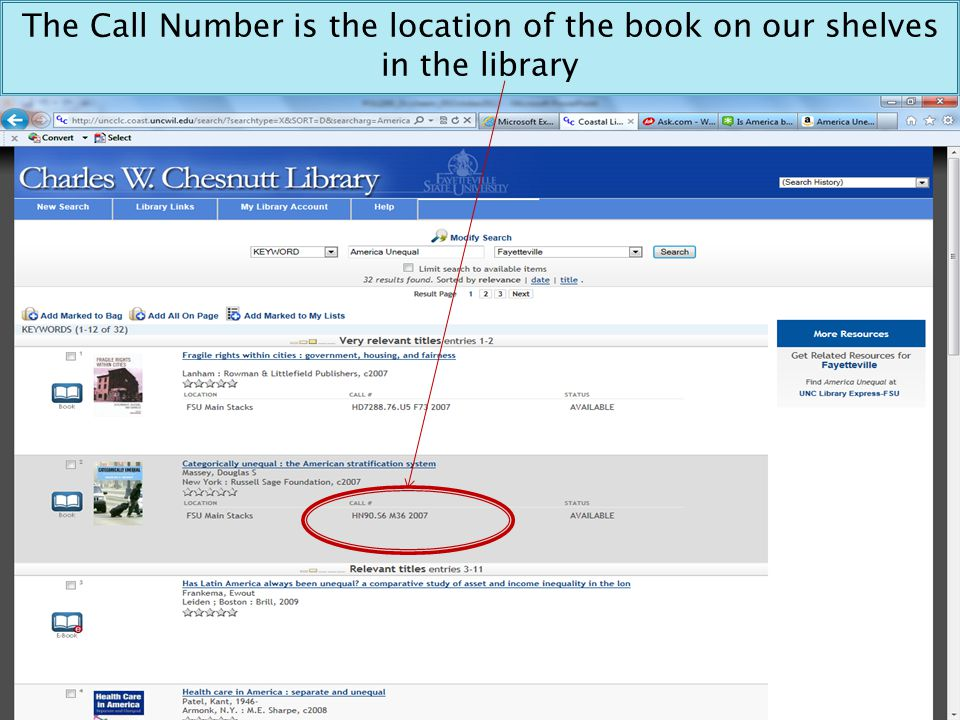 The Call Number is the location of the book on our shelves in the library