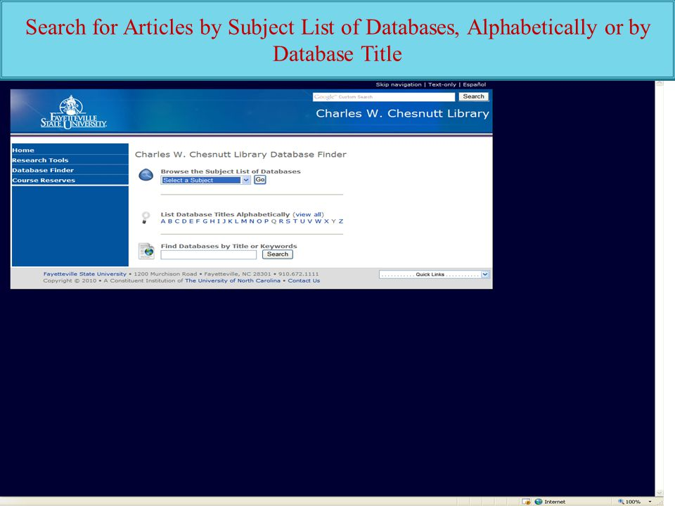 Search for Articles by Subject List of Databases, Alphabetically or by Database Title